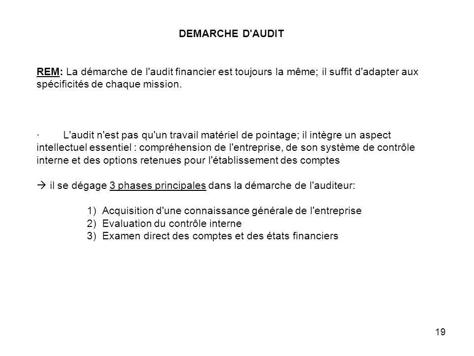 DEMARCHE D AUDIT REM: La démarche de l audit financier est toujours la même; il suffit d adapter aux spécificités de chaque mission.