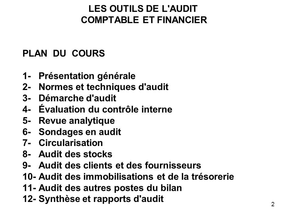 LES OUTILS DE L AUDIT COMPTABLE ET FINANCIER PLAN DU COURS 1- Présentation générale 2- Normes et techniques d audit 3- Démarche d audit 4- Évaluation du contrôle interne 5- Revue analytique 6- Sondages en audit 7- Circularisation 8- Audit des stocks 9- Audit des clients et des fournisseurs 10- Audit des immobilisations et de la trésorerie 11- Audit des autres postes du bilan 12- Synthèse et rapports d audit