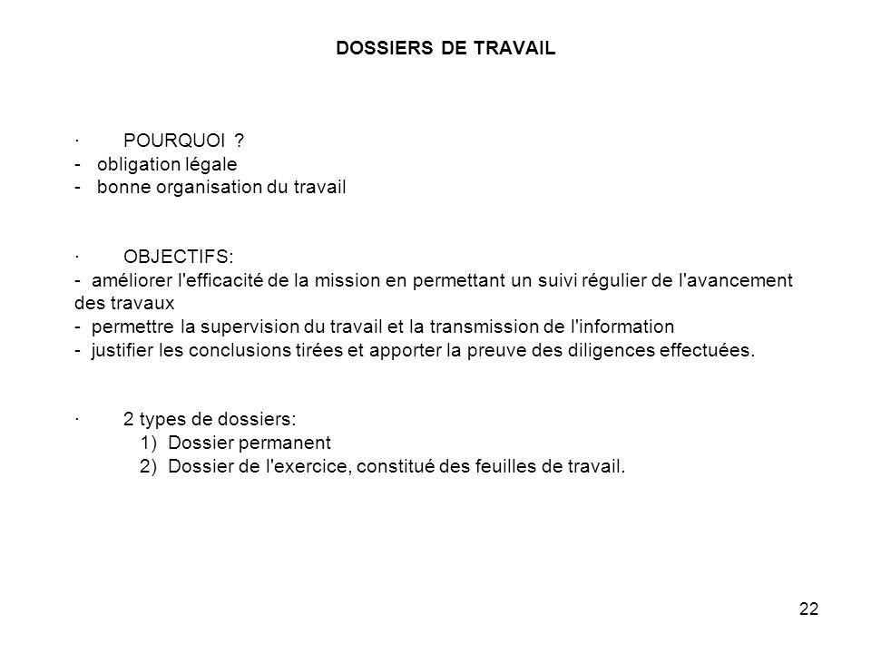 DOSSIERS DE TRAVAIL · POURQUOI
