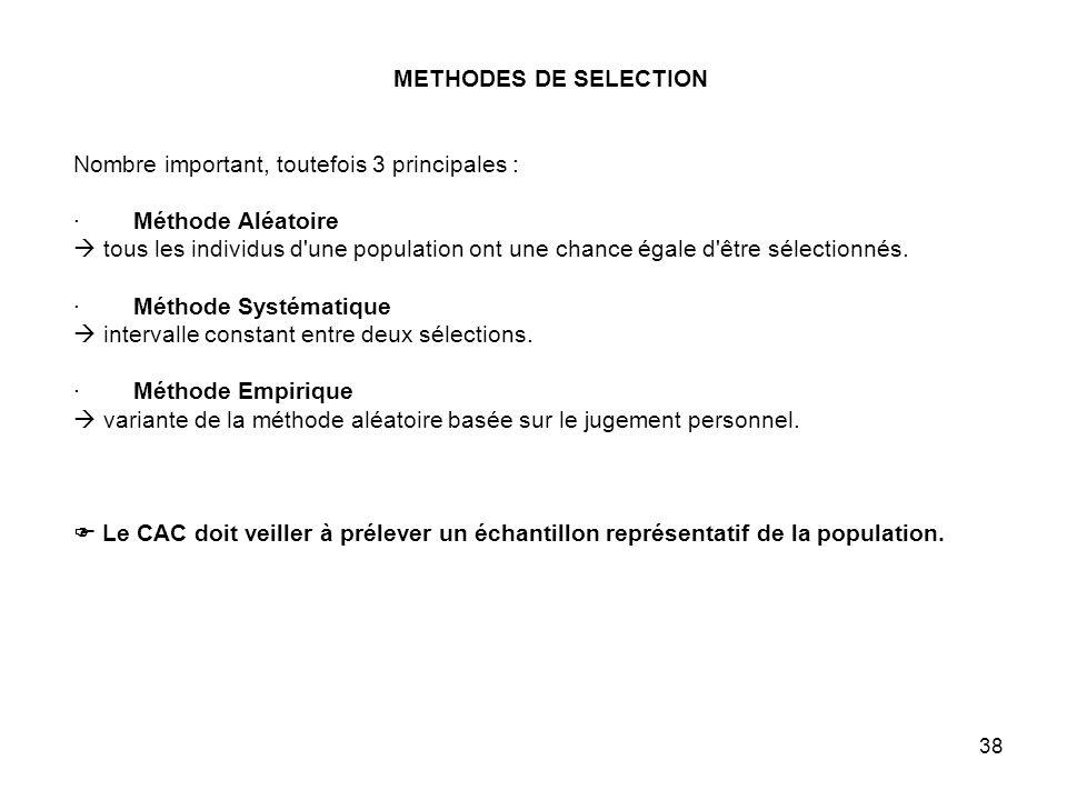 METHODES DE SELECTION Nombre important, toutefois 3 principales : · Méthode Aléatoire  tous les individus d une population ont une chance égale d être sélectionnés.