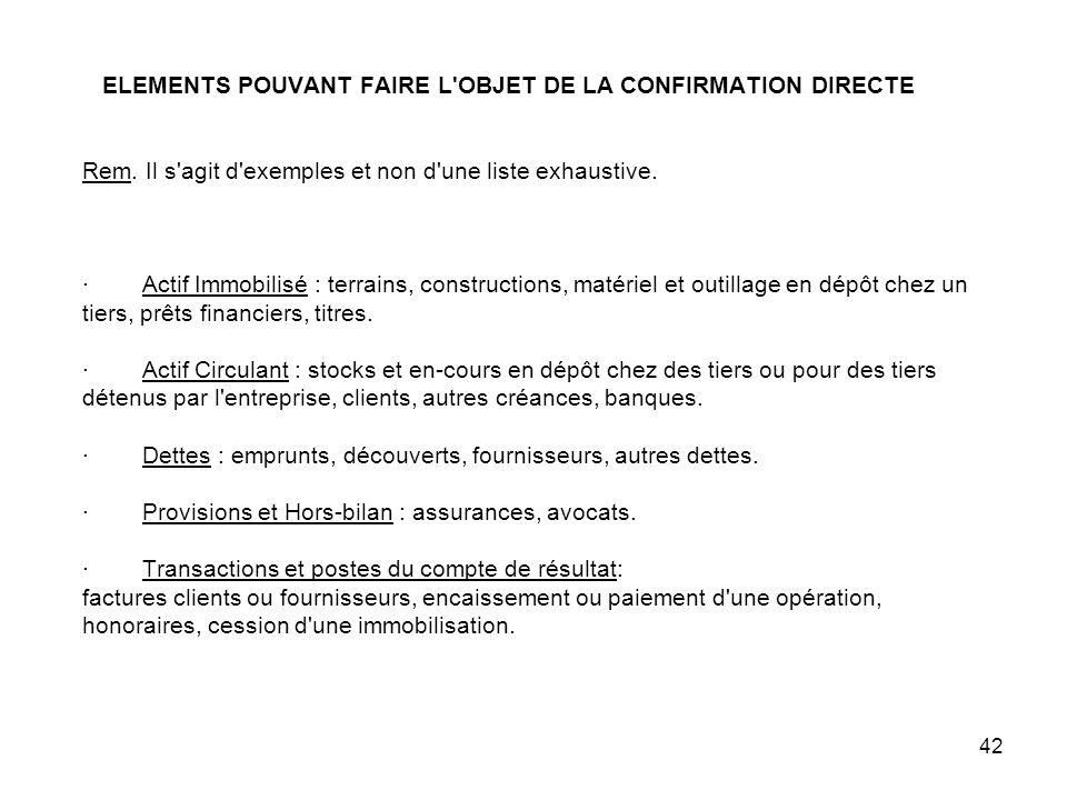 ELEMENTS POUVANT FAIRE L OBJET DE LA CONFIRMATION DIRECTE Rem