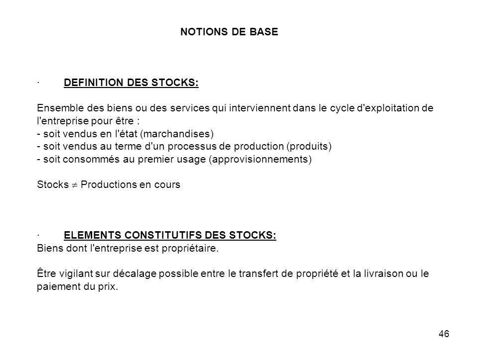 NOTIONS DE BASE · DEFINITION DES STOCKS: Ensemble des biens ou des services qui interviennent dans le cycle d exploitation de l entreprise pour être : - soit vendus en l état (marchandises) - soit vendus au terme d un processus de production (produits) - soit consommés au premier usage (approvisionnements) Stocks  Productions en cours · ELEMENTS CONSTITUTIFS DES STOCKS: Biens dont l entreprise est propriétaire.