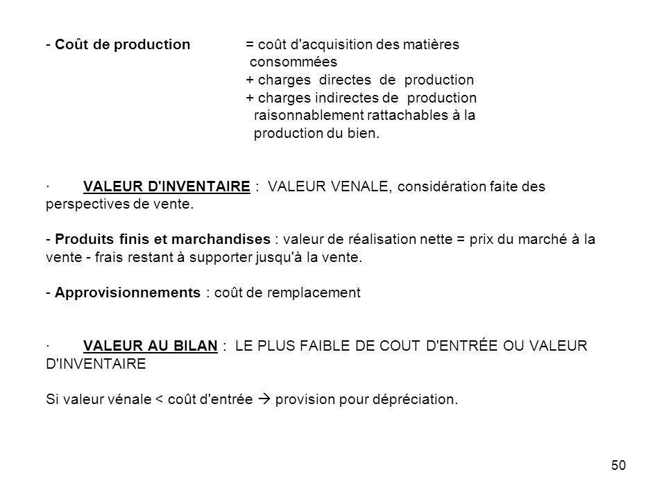 - Coût de production. = coût d acquisition des matières. consommées