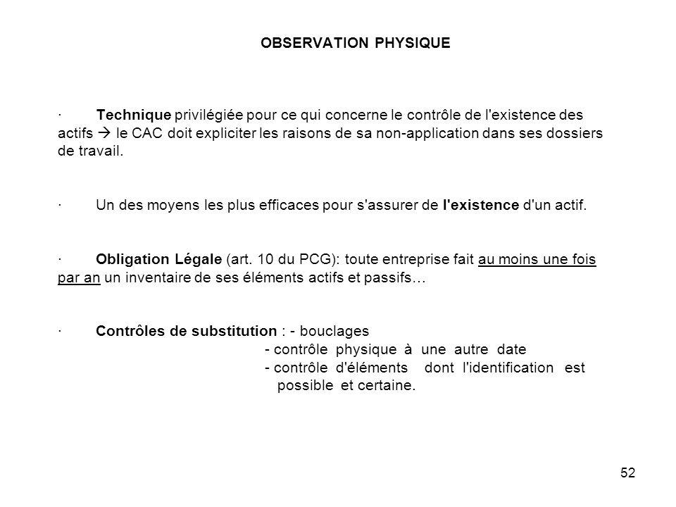 OBSERVATION PHYSIQUE · Technique privilégiée pour ce qui concerne le contrôle de l existence des actifs  le CAC doit expliciter les raisons de sa non-application dans ses dossiers de travail.
