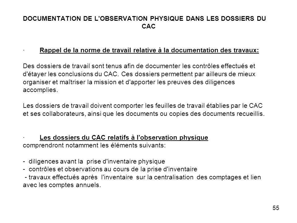 DOCUMENTATION DE L OBSERVATION PHYSIQUE DANS LES DOSSIERS DU