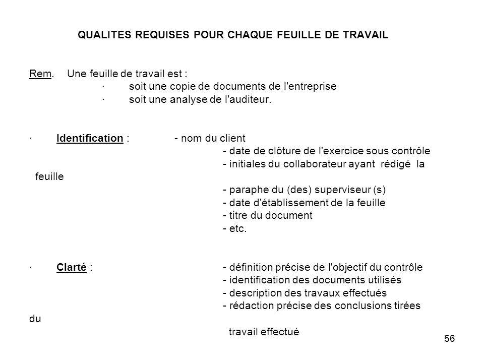 QUALITES REQUISES POUR CHAQUE FEUILLE DE TRAVAIL Rem