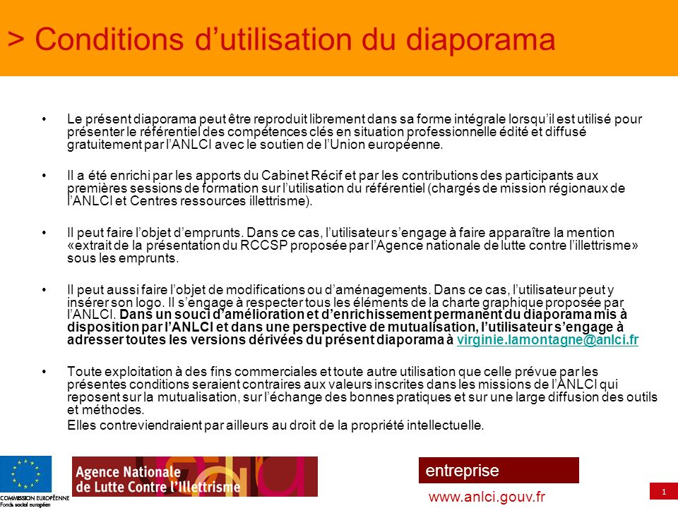 > Conditions d'utilisation du diaporama