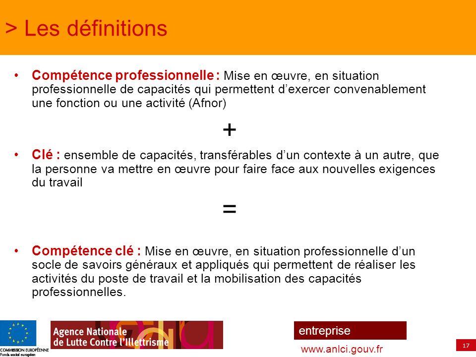 + = > Les définitions