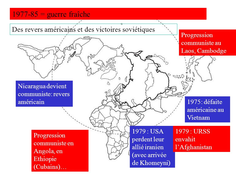 1977-85 = guerre fraîche Des revers américains et des victoires soviétiques. Progression communiste au Laos, Cambodge.