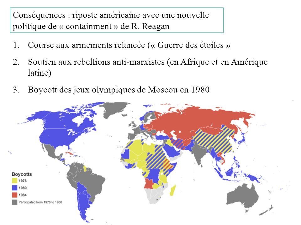 Conséquences : riposte américaine avec une nouvelle politique de « containment » de R. Reagan