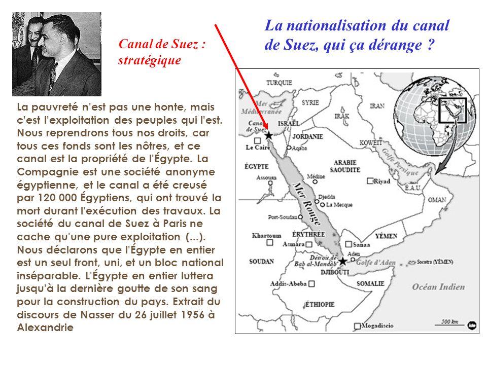 La nationalisation du canal de Suez, qui ça dérange