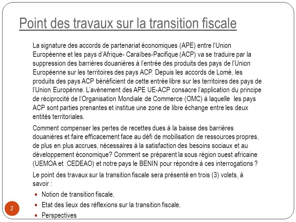 Point des travaux sur la transition fiscale