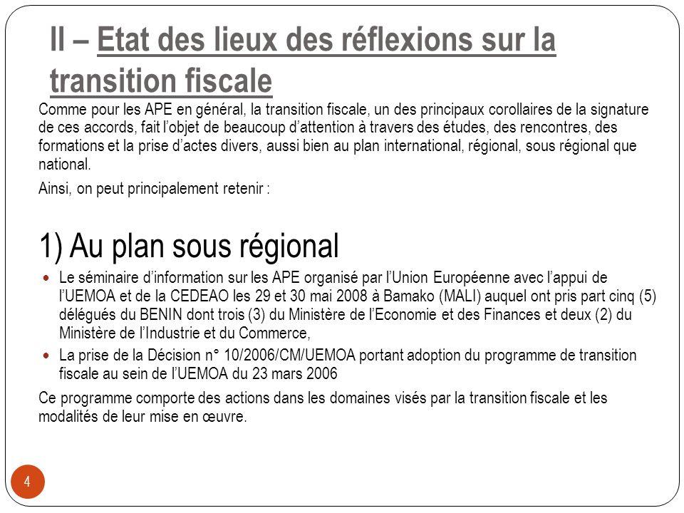 II – Etat des lieux des réflexions sur la transition fiscale