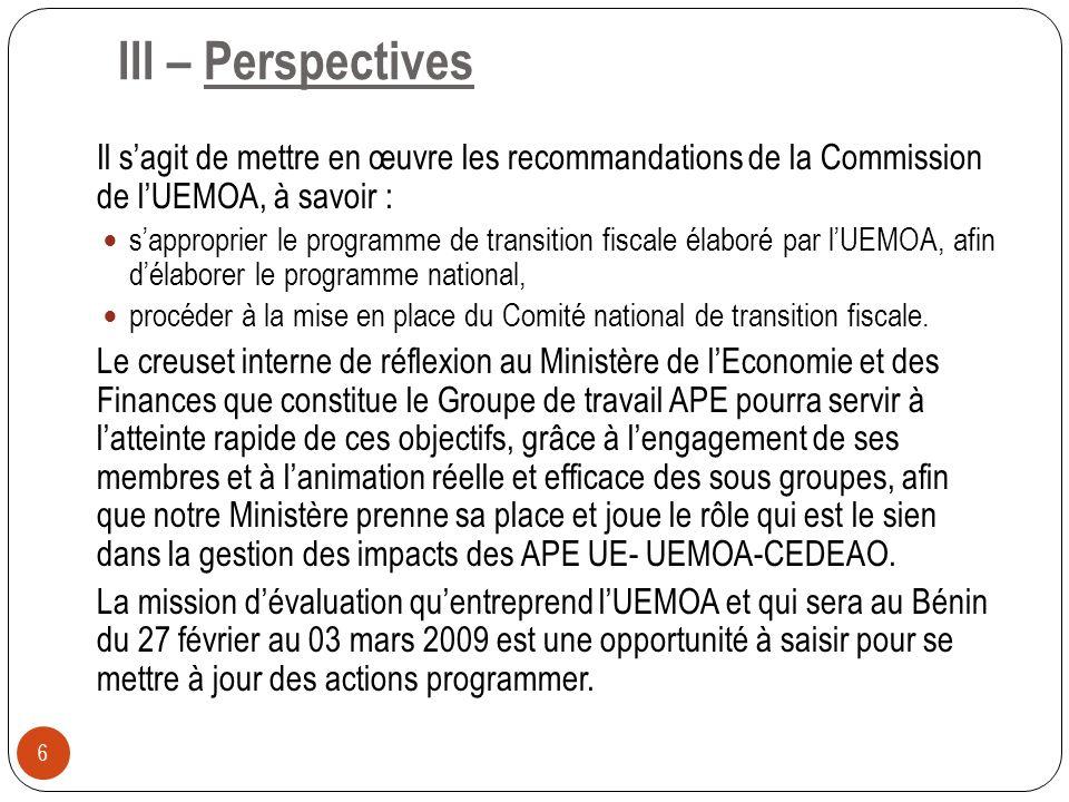 III – Perspectives Il s'agit de mettre en œuvre les recommandations de la Commission de l'UEMOA, à savoir :