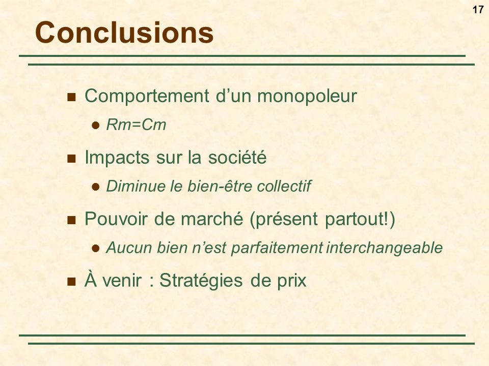 Conclusions Comportement d'un monopoleur Impacts sur la société
