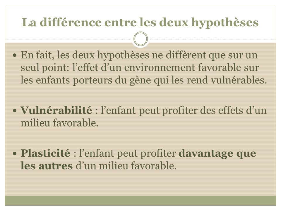 La différence entre les deux hypothèses