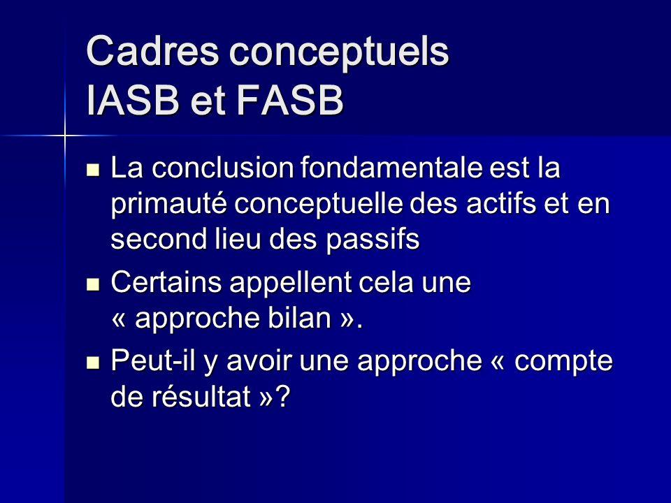 Cadres conceptuels IASB et FASB