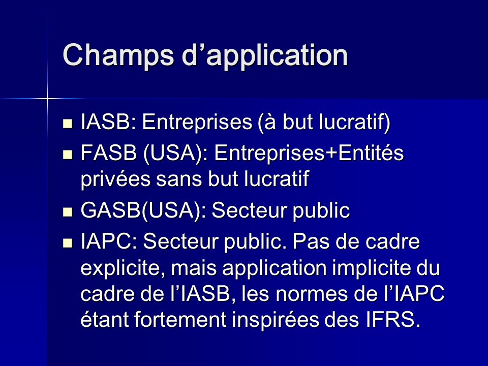 Champs d'application IASB: Entreprises (à but lucratif)