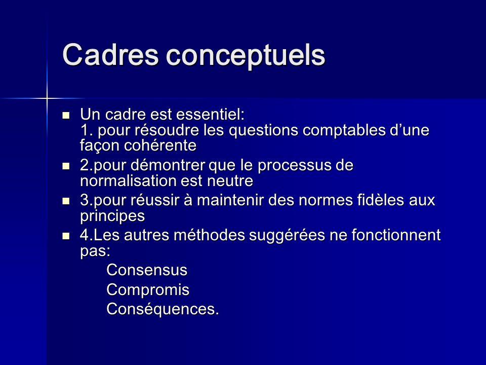 Cadres conceptuels Un cadre est essentiel: 1. pour résoudre les questions comptables d'une façon cohérente.