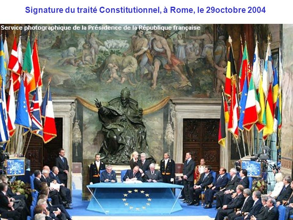 Signature du traité Constitutionnel, à Rome, le 29octobre 2004
