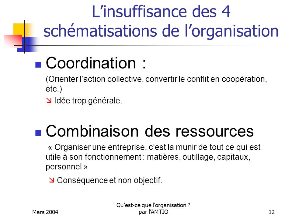 L'insuffisance des 4 schématisations de l'organisation