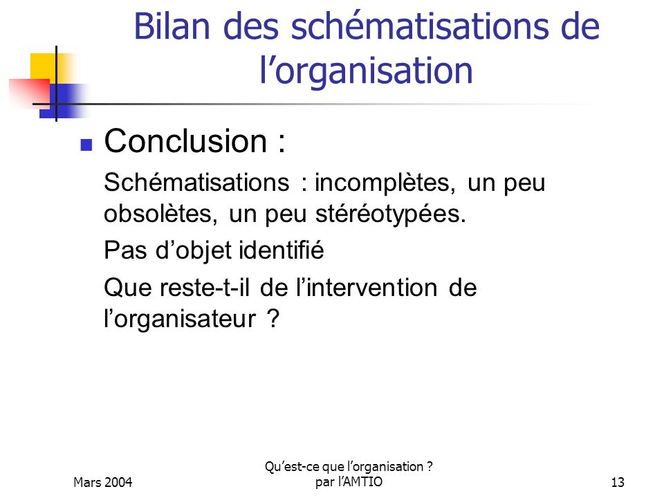 Bilan des schématisations de l'organisation