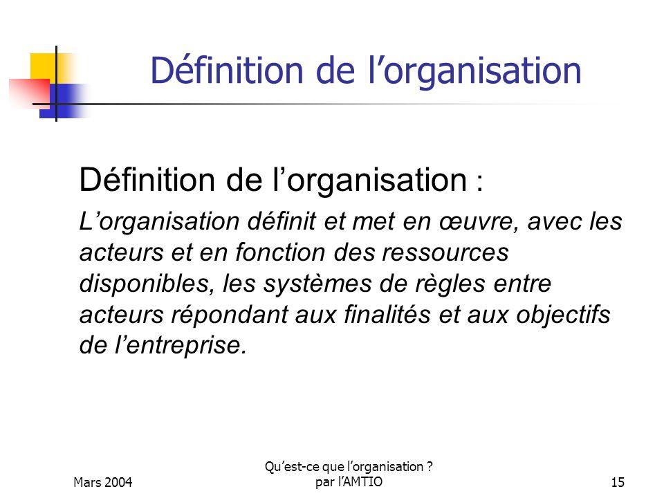 Définition de l'organisation
