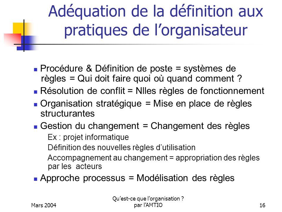 Adéquation de la définition aux pratiques de l'organisateur