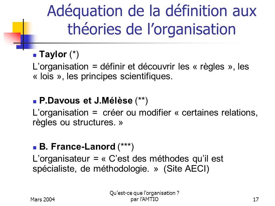 Adéquation de la définition aux théories de l'organisation