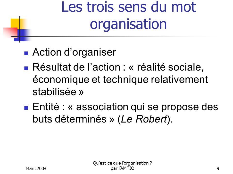 Les trois sens du mot organisation