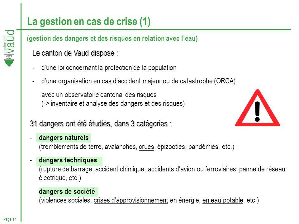 La gestion en cas de crise (1)