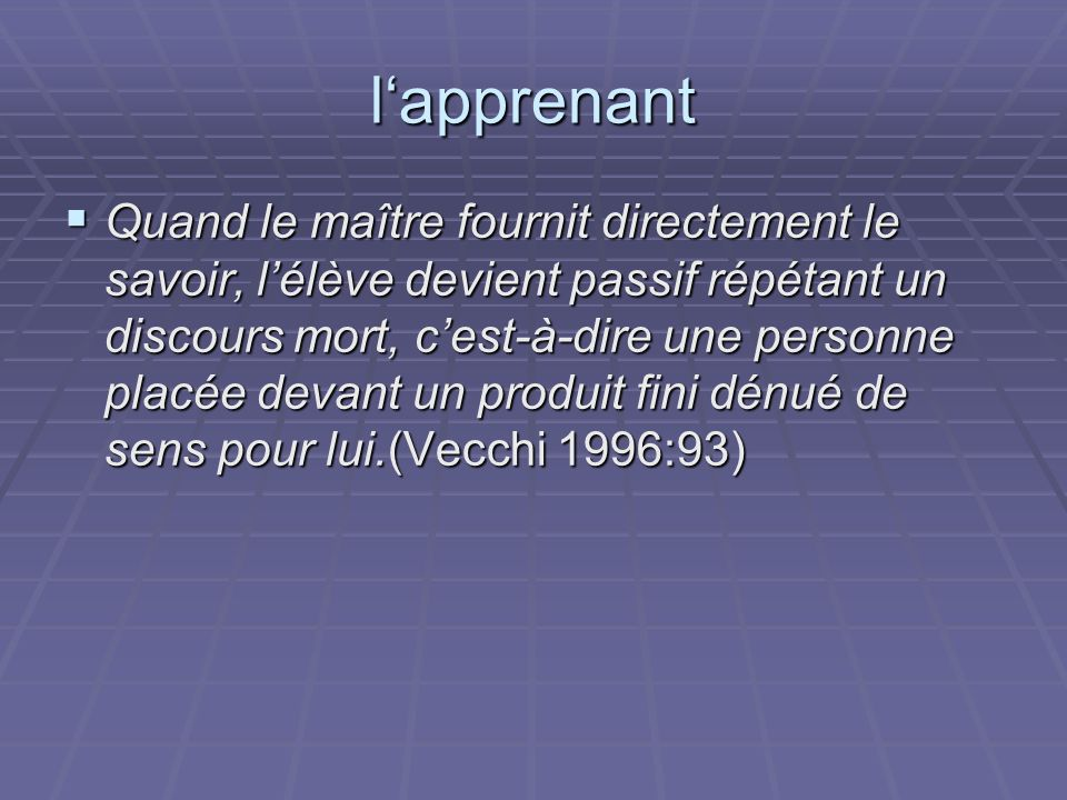 l'apprenant