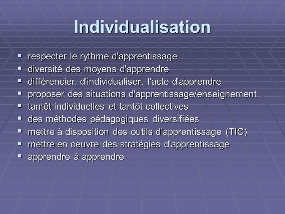 Individualisation respecter le rythme d apprentissage