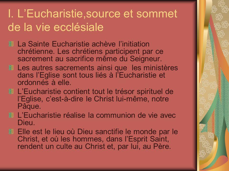 I. L'Eucharistie,source et sommet de la vie ecclésiale