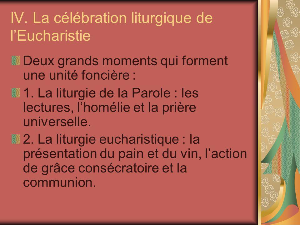 IV. La célébration liturgique de l'Eucharistie