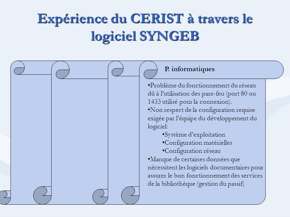 Expérience du CERIST à travers le logiciel SYNGEB