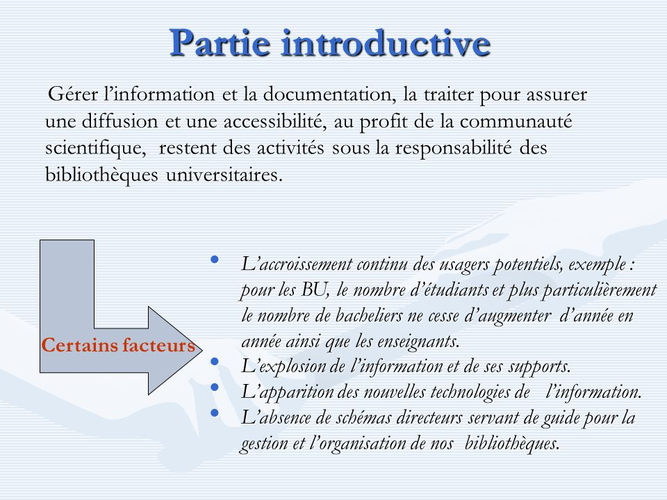 Partie introductive
