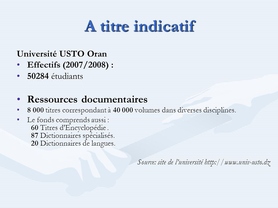 A titre indicatif Ressources documentaires Université USTO Oran
