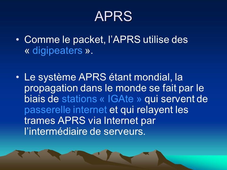 APRS Comme le packet, l'APRS utilise des « digipeaters ».