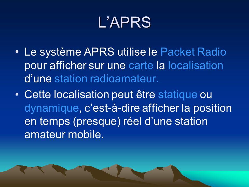 L'APRS Le système APRS utilise le Packet Radio pour afficher sur une carte la localisation d'une station radioamateur.