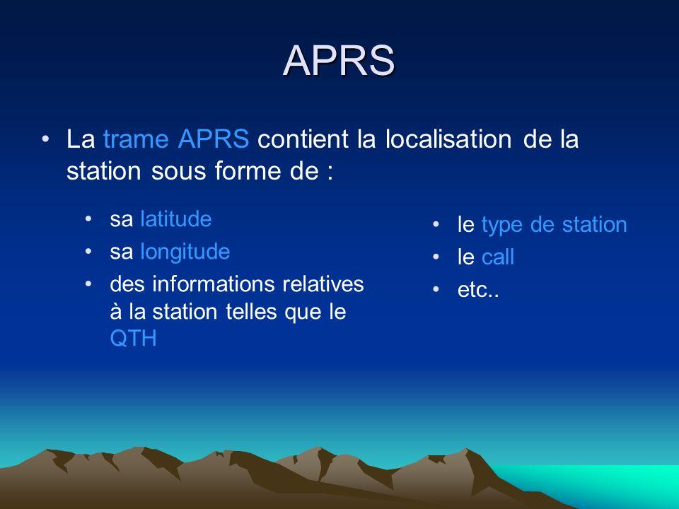 APRS La trame APRS contient la localisation de la station sous forme de : sa latitude. sa longitude.