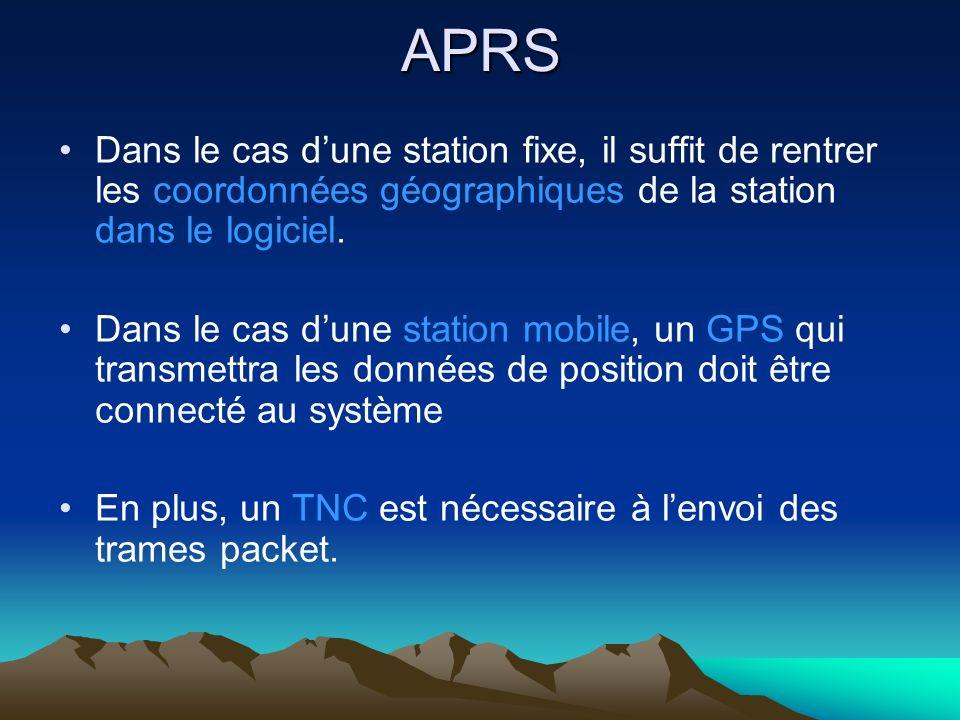 APRS Dans le cas d'une station fixe, il suffit de rentrer les coordonnées géographiques de la station dans le logiciel.