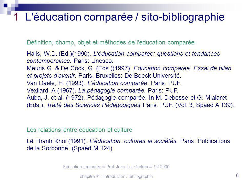1 L éducation comparée / sito-bibliographie