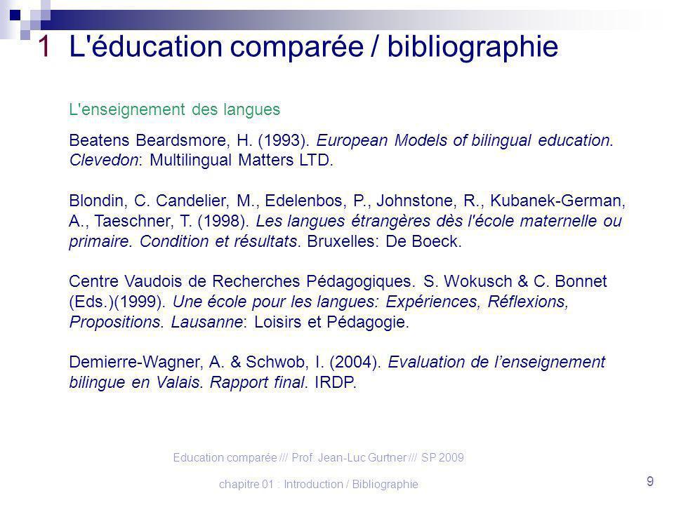 1 L éducation comparée / bibliographie