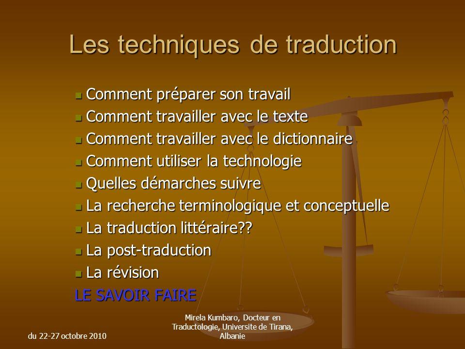 Les techniques de traduction