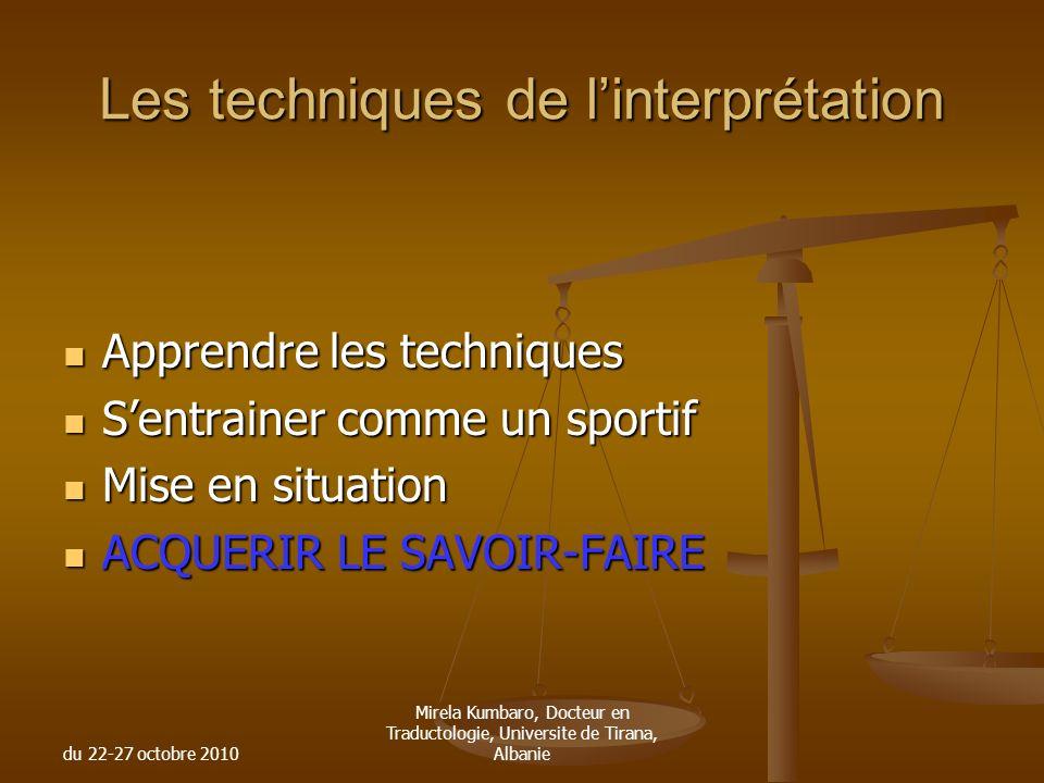 Les techniques de l'interprétation