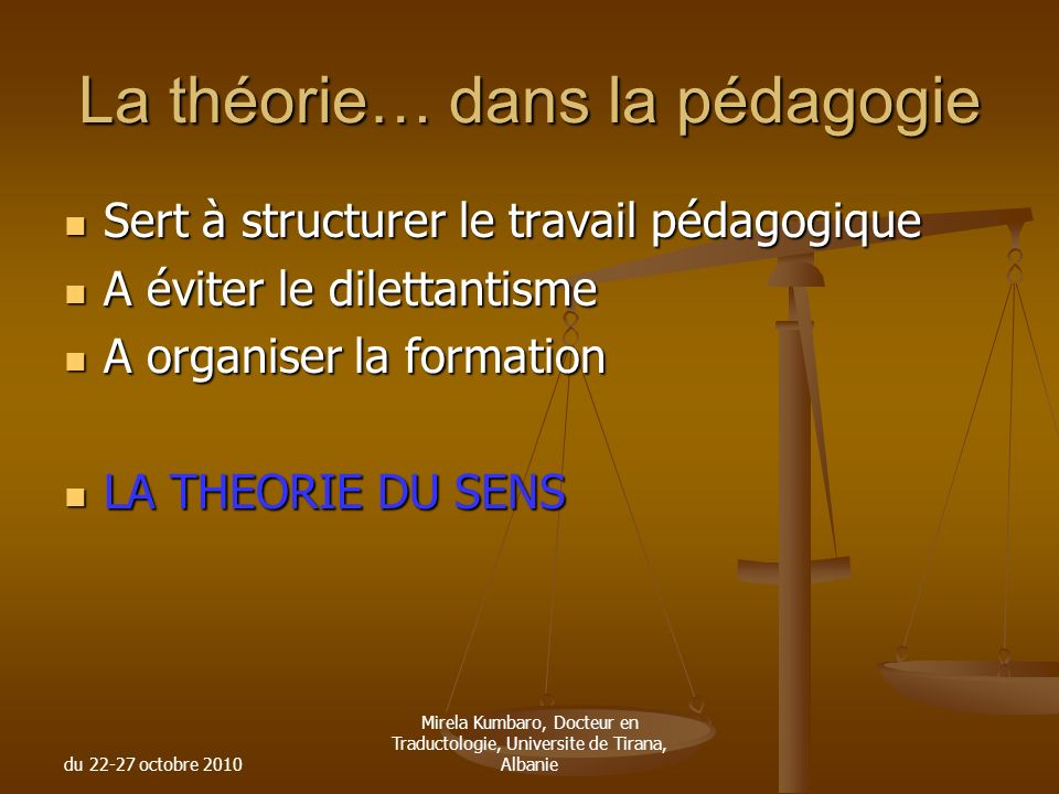 La théorie… dans la pédagogie