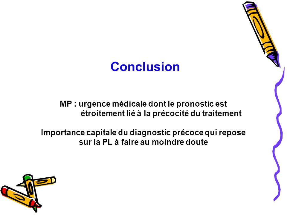 Conclusion MP : urgence médicale dont le pronostic est