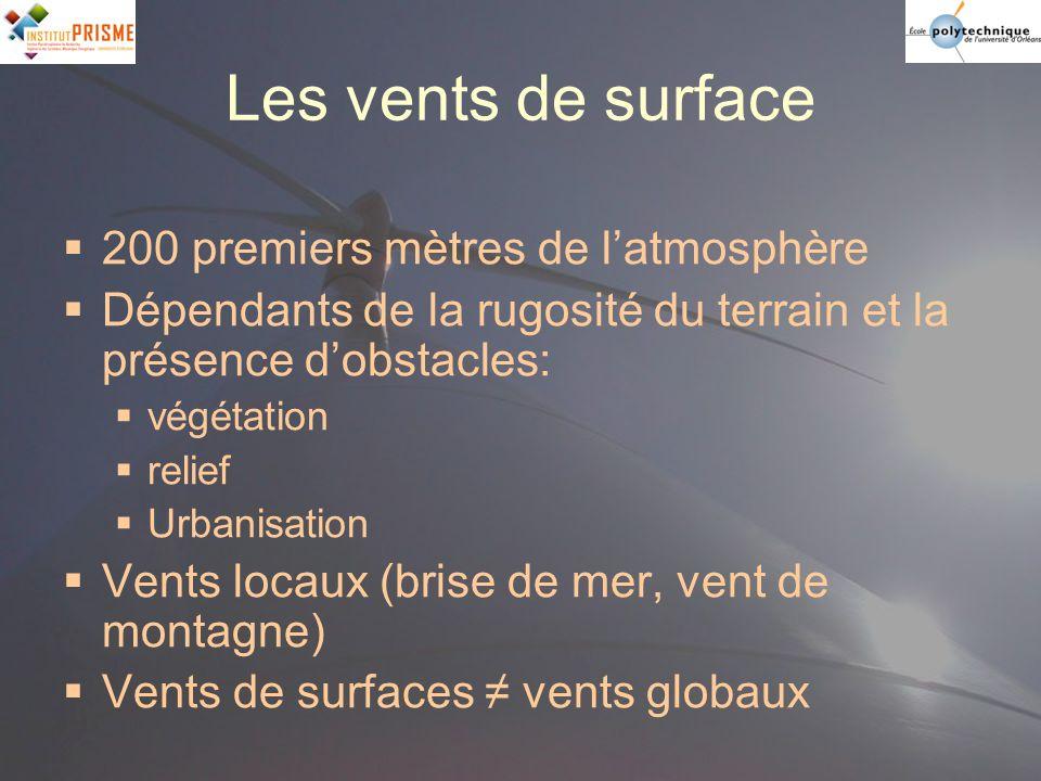 Les vents de surface 200 premiers mètres de l'atmosphère