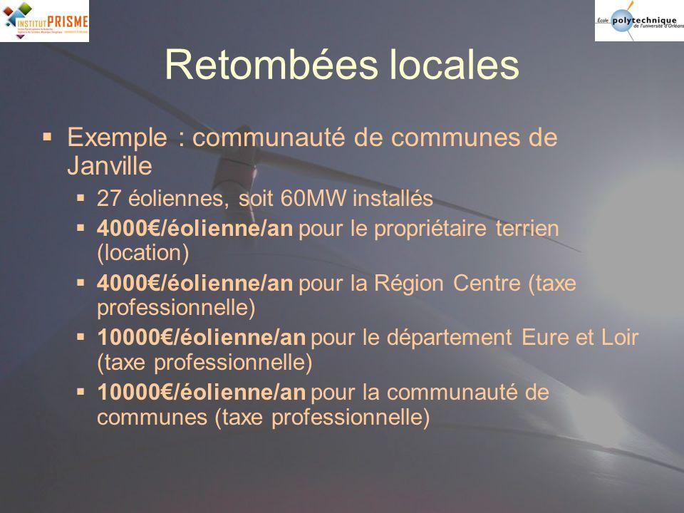 Retombées locales Exemple : communauté de communes de Janville